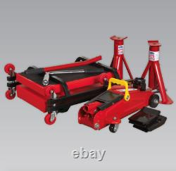 New SEALEY JKIT01 Lifting Kit 5pc 2tonne Jack Axle Stands Creeper Chocks Wrench